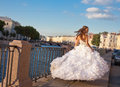 Running bride outdoor sun set time Royalty Free Stock Image