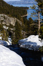 Running brook with emerald bay lake tahoe in the background Royalty Free Stock Photo