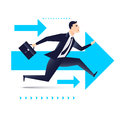 Running business man with arrows on background, be the first business concept Royalty Free Stock Photo