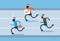 Running business man group hurry opponents flat vector illustration Stock Photography