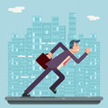 Running Businessman Character Urban Landscape City Street Background Flat Design Vector Illustration Royalty Free Stock Photo