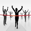 Running businesswoman crossing finish line win Royalty Free Stock Photo
