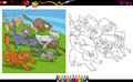 Running cats cartoon coloring page illustrations of characters group for book Stock Photography