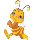 Running cute bee illustration of Royalty Free Stock Photo