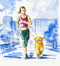 Running with dog. Stock Image