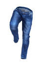 Running empty blue jeans Royalty Free Stock Photo