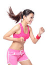 Running fit sport woman in profile Royalty Free Stock Photo