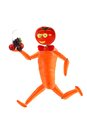 Running funy man made from fruits and vegetables healthy eating funny little Royalty Free Stock Images