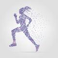 Running girl from circles. Vector illustration. Modern Royalty Free Stock Photo