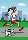 Running girl with headphones and dog Stock Photo