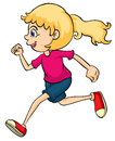 A running girl illustration of on white background Stock Photo