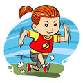 Running girl a little do exercise Royalty Free Stock Photography