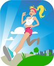 Running girl vector beautiful happy is jogging outdoors image Royalty Free Stock Photos