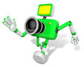 The Running Green Camera Character toward the Left. Create 3D Ca Stock Images