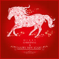 Running horse on bright red background merry christmas and happy new year greeting card Stock Image