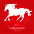 Running horse on bright red background merry christmas and happy new year greeting card Royalty Free Stock Image