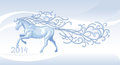 Running horse from ice magical illustrations christmas card Stock Photography