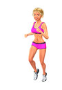 Running jogging healthy poster girl illustration a blonde and smiling in pink sportswear copyspace to the left Stock Photography
