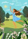 Running joyful girl on the background of fields and meadows. Cute vector illustration.