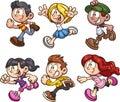 Cartoon boys and girls running Royalty Free Stock Photo
