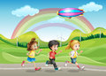 A running kids illustration of on the road Royalty Free Stock Photo