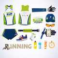 Running kit element with typographic for header design. sport co