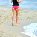 Running legs shoes runner jogging beach Stock Photos