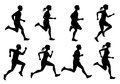 Running male and female, jogging people vector silhouettes