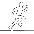 Running man black line art illustration of a athlete Royalty Free Stock Image