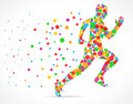 Running man with color circles, sports man running Royalty Free Stock Photo