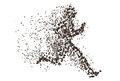 Running man particle divergent silhouette. Can be used for Sport and Fitness club poster, for logo, t-shirt design Royalty Free Stock Photo