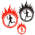 Running marathon isolated objects on white background vector illustration eps Royalty Free Stock Photos