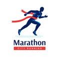 Running marathon logo or label. Runner with red ribbon. Vector flat symbol.