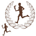Running marathon vintage isolated objects on white background vector illustration eps Stock Photos