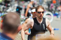 Running men at Bonn Triathlon Royalty Free Stock Photo