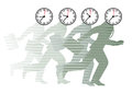 Running men with clocks as heads illustration of businessmen on their symbolizing stress and hurry under a deadline Royalty Free Stock Photos