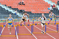 Running the meter hurdles girls photo was taken during junior team of ukrainian championship in athletics between countries Royalty Free Stock Image