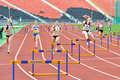 Running the meter hurdles girls photo was taken during junior team of ukrainian championship in athletics between countries Stock Photos