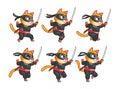 Running ninja cat animation sprite cartoon illustration of for game Royalty Free Stock Photo