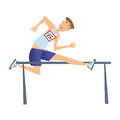 Running with obstacles. Man jumping over the barrier. Vector illustration, isolated on white background. Royalty Free Stock Photo