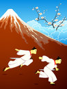 Running over japan samurai mt fuji and blossoming sakura landscape Stock Image