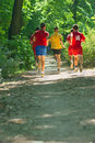 Running in a park fitness training best way to maintain is Royalty Free Stock Photos
