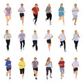 Running people collection of silhouettes teenagers boys and girls Stock Photography