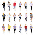 Running people collection of silhouettes teenagers boys and girls Royalty Free Stock Photo
