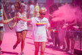 Running people at a color run in cologne event germany will be covered with pink powder Royalty Free Stock Images