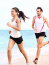 Running people: couple runners Stock Photo