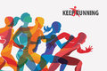 Running people set of silhouettes Royalty Free Stock Photo