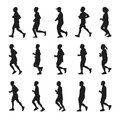 Running people silhouettes vector collection Royalty Free Stock Photo