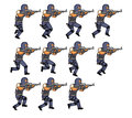 Running police animation set of illustration of officer for or game Royalty Free Stock Photos