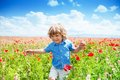 Running in poppy fired Royalty Free Stock Photo